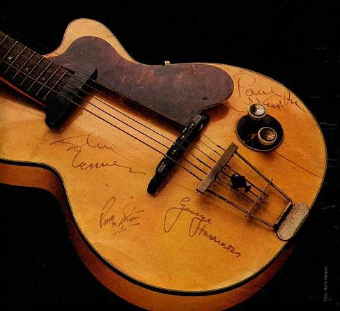 Image result for beatles Harrison's first electric guitar, a Hofner Club 40